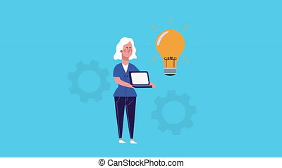 businesswoman lifting laptop and bulb animated ,4k video ...