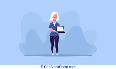 businesswoman lifting laptop character animated ,4k video ...
