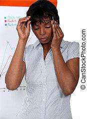 businesswoman, lijden, stress, hoofdpijn
