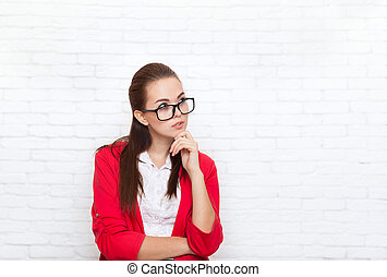 Businesswoman look up to copy space wear red jacket glasses...