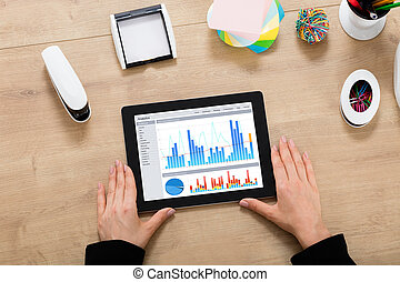 Businesswoman Looking At Graph On Digital Tablet