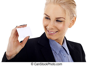 looking at her business card