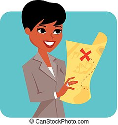 businesswoman looking at map