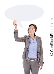 Businesswoman Looking At Speech Bubble