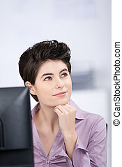 Businesswoman Looking Away In Office