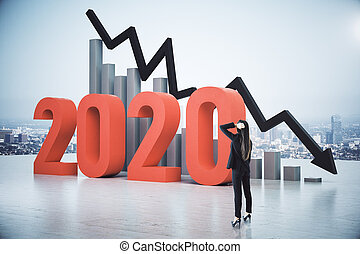 Businesswoman looking on falling chart and arrow