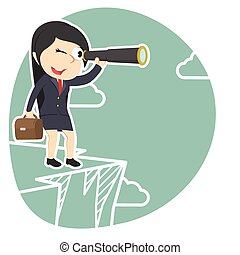 businesswoman looking through monocular on cliff