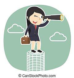 businesswoman looking through monocular on coins