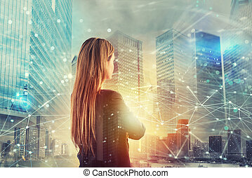 Businesswoman looks far for the future with internet network...