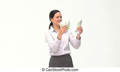 Businesswoman loving her money against a white background