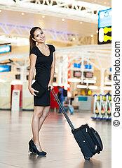 businesswoman, luchthaven, aantrekkelijk