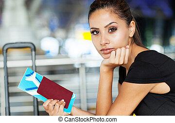 businesswoman, luchthaven, ticket, mooi, lucht