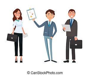 businesswoman, møde, firma, forretningsmand