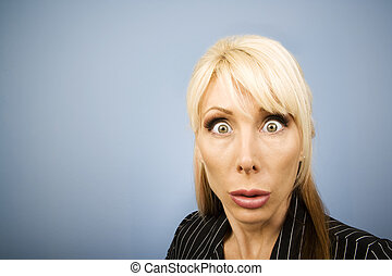 Businesswoman making a funny face