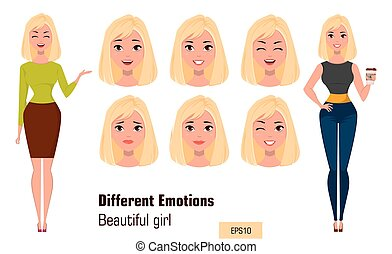 Businesswoman making different face expressions.