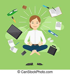 Businesswoman meditation vector icon - Businesswoman in...