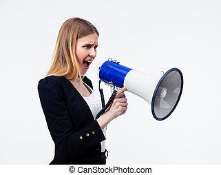 businesswoman, megafoon, gegil, jonge