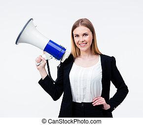 businesswoman, megafoon, vasthouden, vrolijke