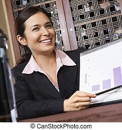 businesswoman, met, chart.