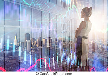 businesswoman, met, forex, tabel