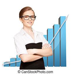 businesswoman, met, groot, 3d, tabel