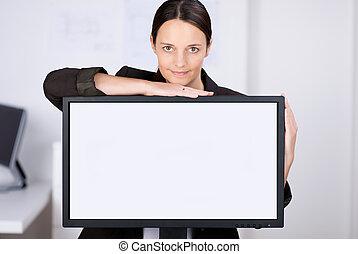 businesswoman, met, lcd, scherm, in, kantoor