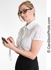 businesswoman, met, pda