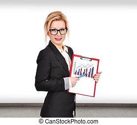 businesswoman, met, tabel