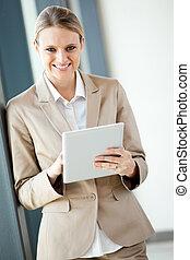 businesswoman, met, tablet, computer