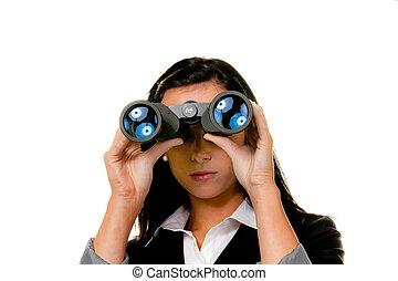 businesswoman, met, verrekijker, het zoeken, de toekomst