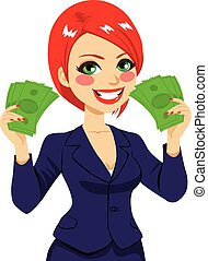 Businesswoman Money Fan Success - Beautiful happy...