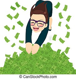 Businesswoman Money Pool