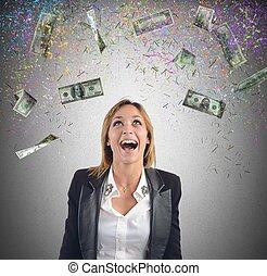 Businesswoman money - Happy businesswoman have earned lot of...