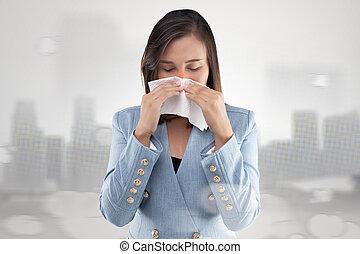 Businesswoman nose burning sensation