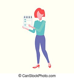 businesswoman office worker holding notepad to do check list form business woman manager standing pose female cartoon character full length flat isolated