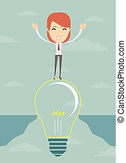 Businesswoman on a bulb cross an abyss. Vector