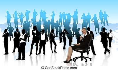 Businesswoman on a chair writing with people silhouttes