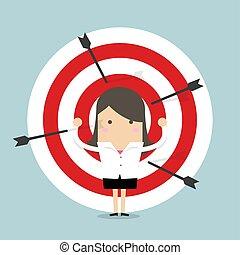 Businesswoman on archery targets.