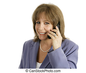Businesswoman on Cellphone - Smiling