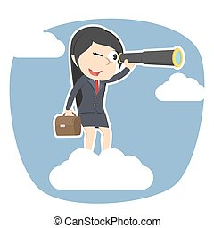 Businesswoman on clouds looking through monocular