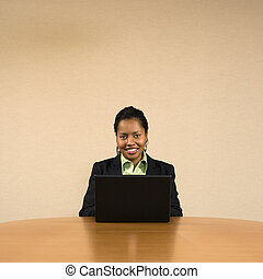 Businesswoman on computer.