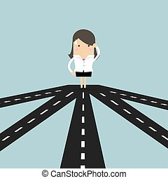 Businesswoman on crossroad choosing future direction to success or business strategy.