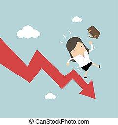 Businesswoman On Falling Down Chart.