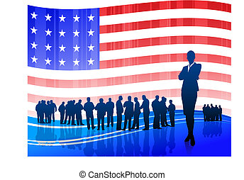 Businesswoman on Patriotic American Flag background