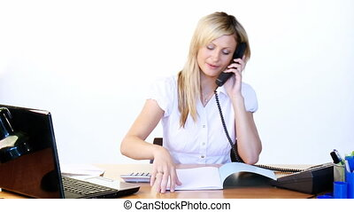 Businesswoman on phone and reading reports in office