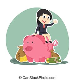 businesswoman on piggy bank with a lot of money