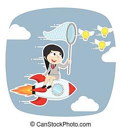 Businesswoman on rocket chasing flying ideas