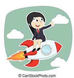businesswoman on rocket illustration design