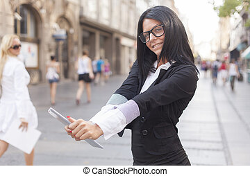 Businesswoman on street