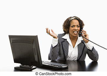 Businesswoman on telephone.